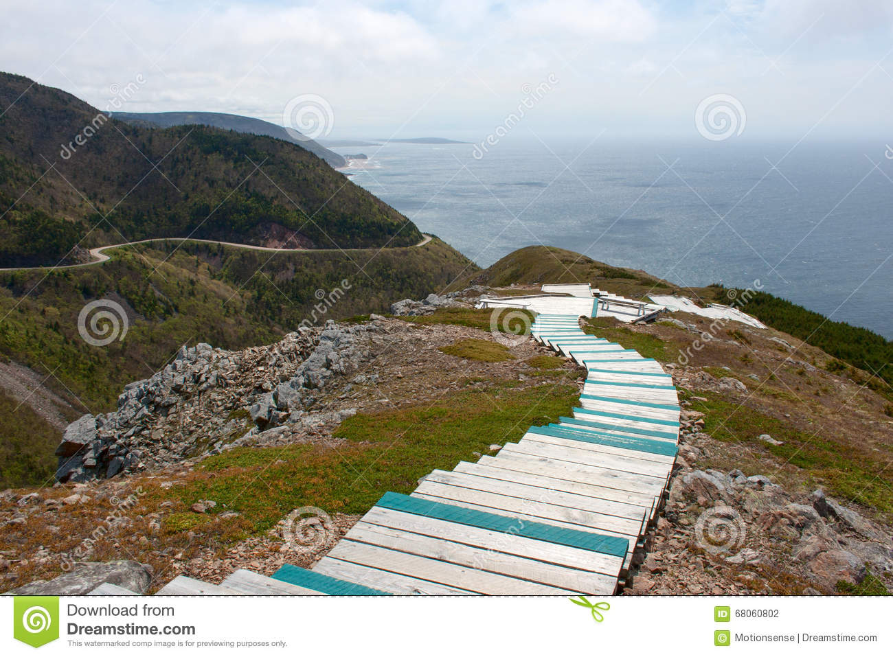 skyline trail and cabot trail highway in nova scotia stock