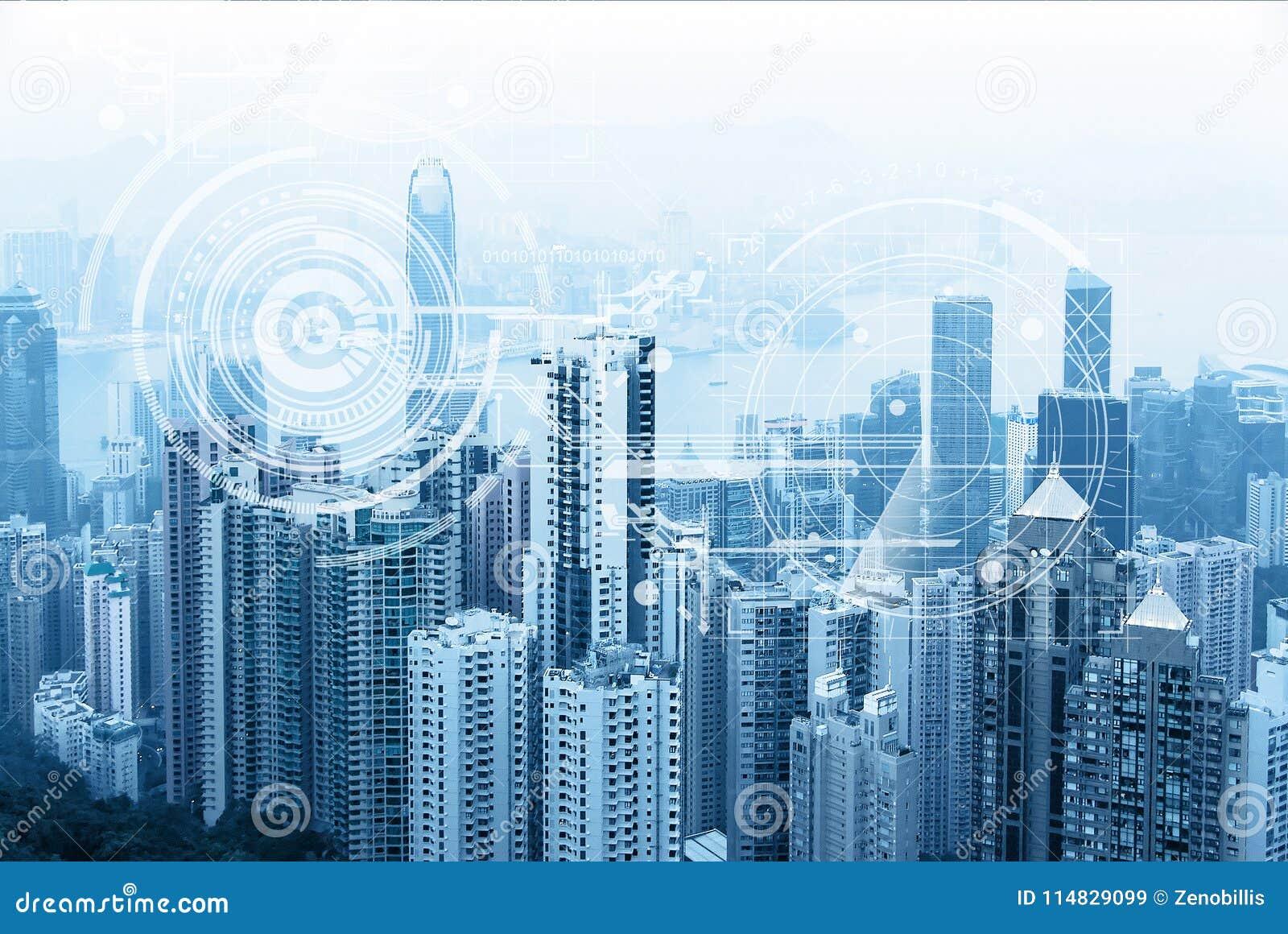 Skyline urbana moderna Comunicações globais e trabalhos em rede Cyberspace na cidade grande Mercado de valores de acção Comércio