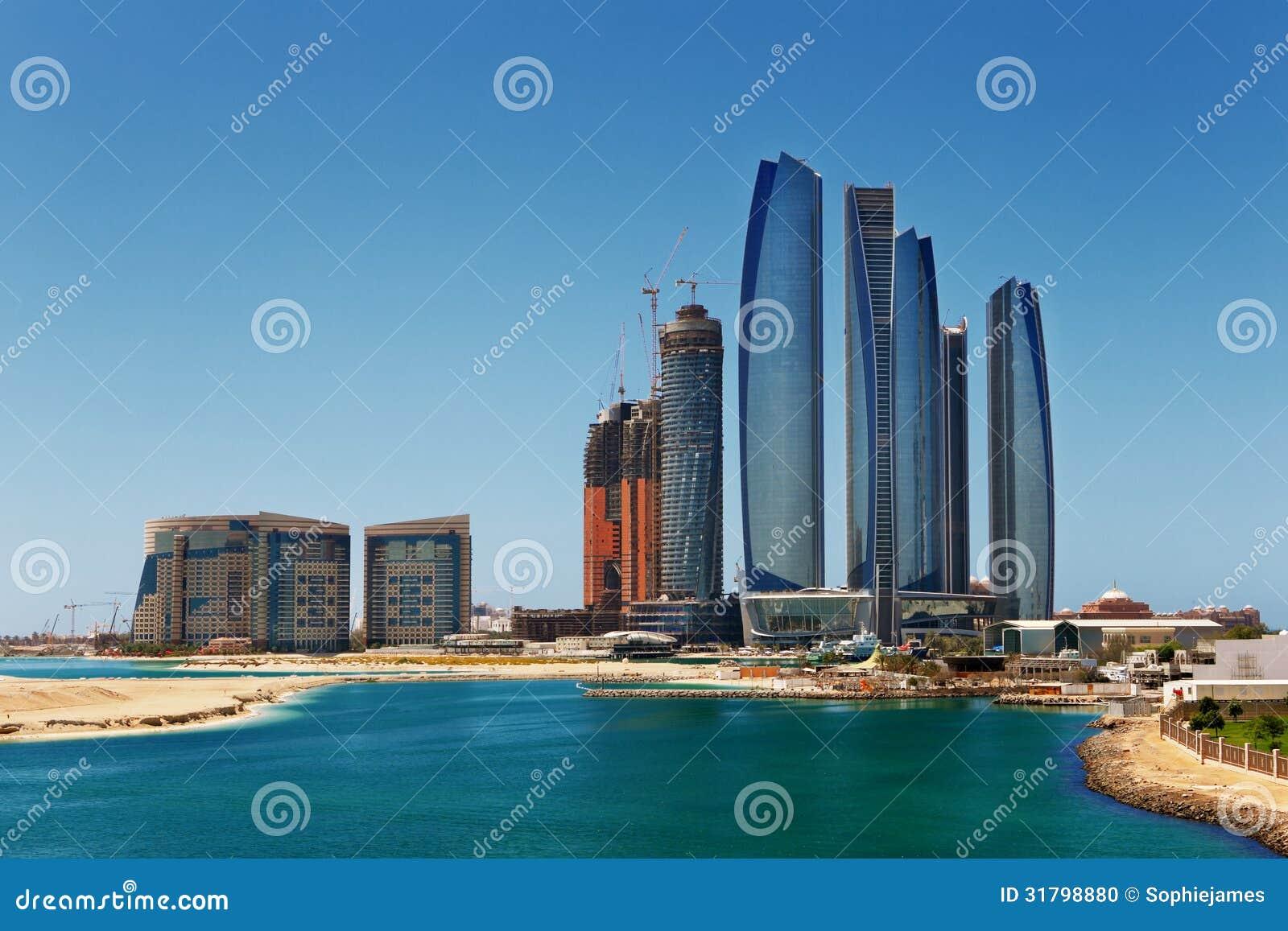 A Skyline View Of Abu Dhabi, UAE's Capital City Stock Photo