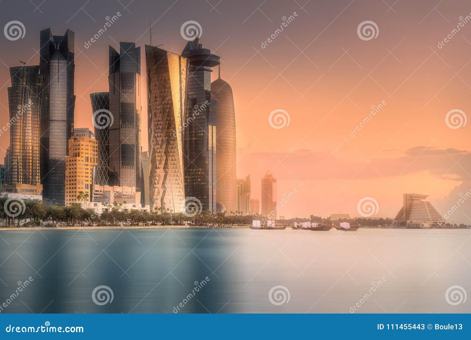 Skyline of West Bay and Doha City Center, Qatar