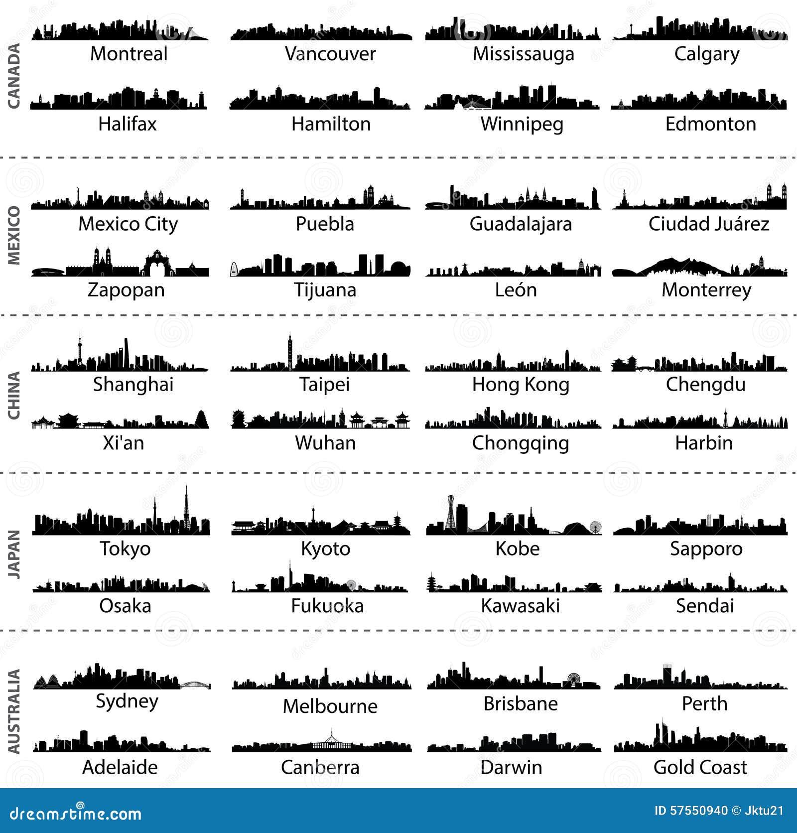 Skylines de cidades de Canadá, de México, de China, de Japão e de Austrália