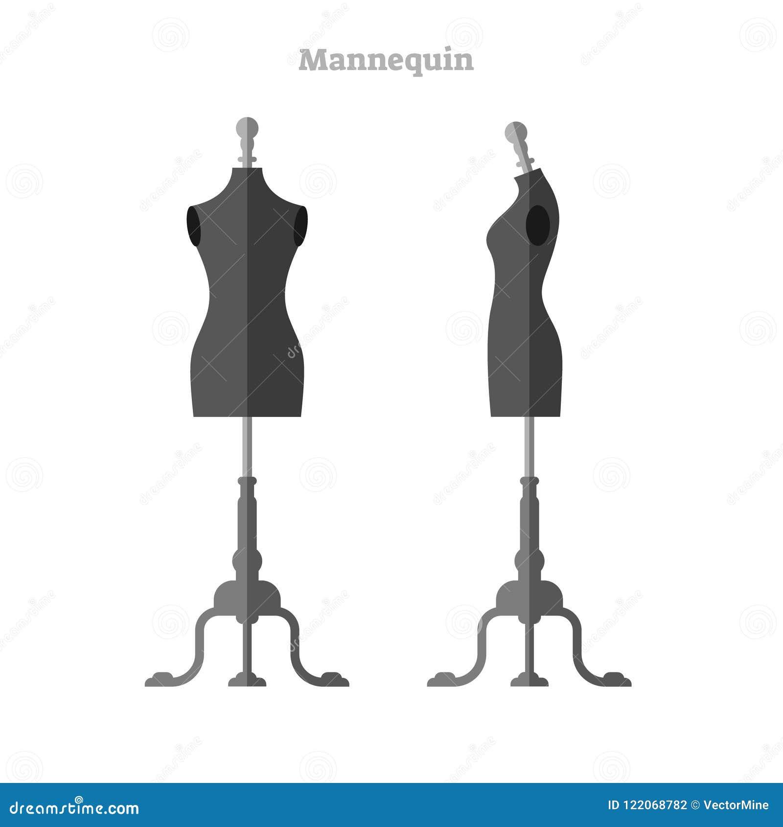 Skyltdockavektorillustration Attrapp för kvinnaformkontur uppsättning för främre och sidosamling Isolerad form för formgivare och