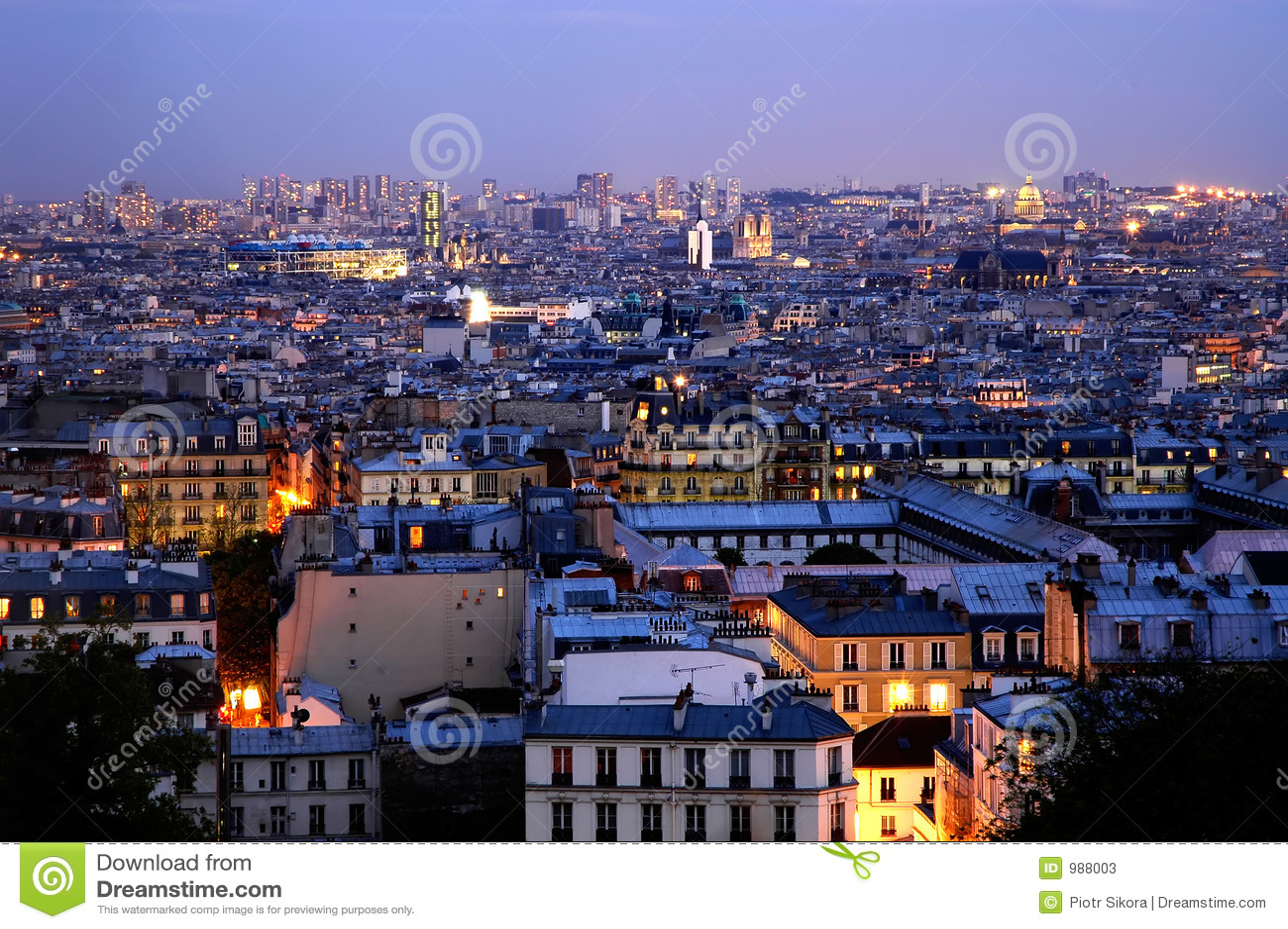 Skymning över panoramicsen paris