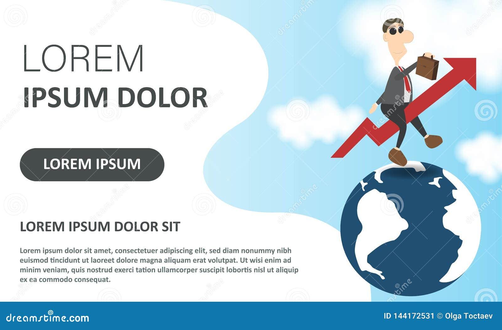 Skynda sig upp begreppet vektor för illustration för affärsdollareuro Flyga affärsmannen som en stigande pil på globalt Rengöring