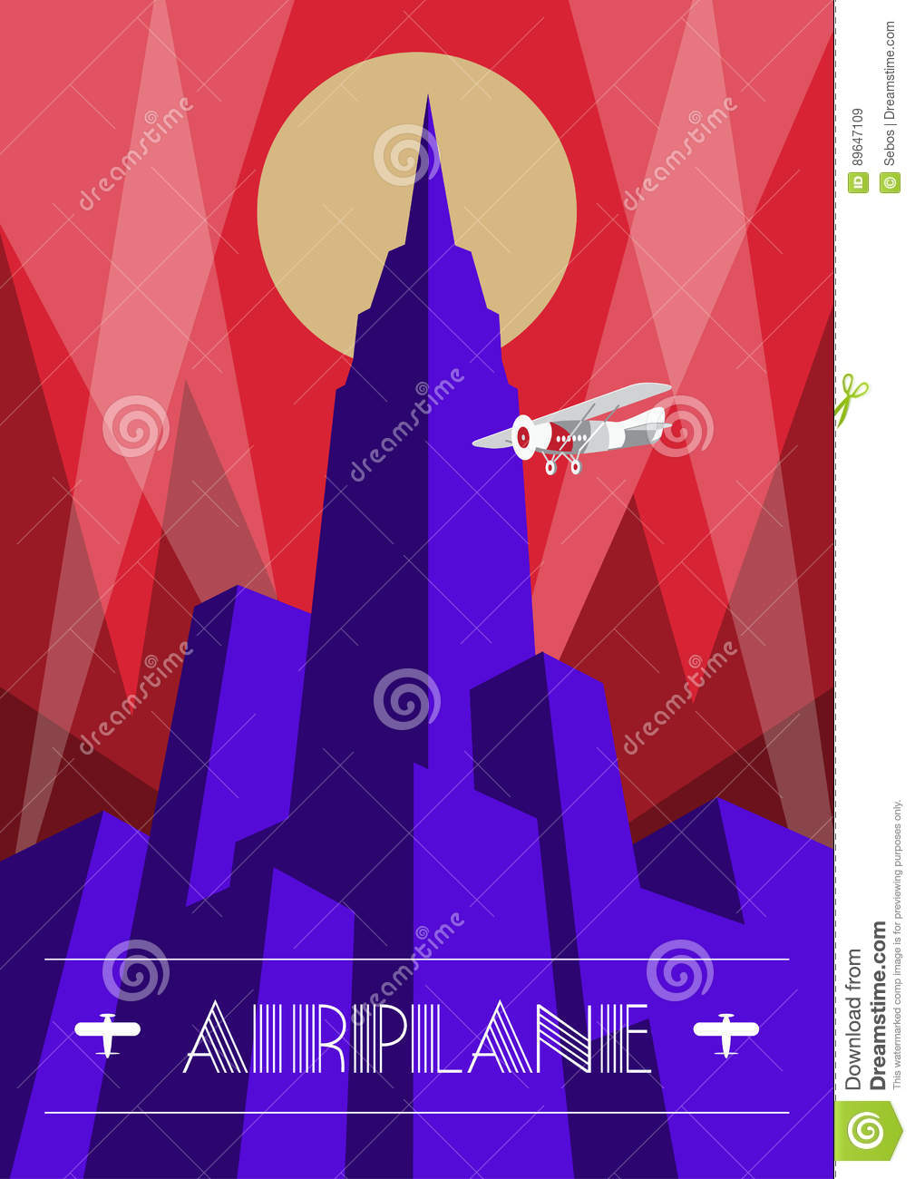 skyscraper and airplane poster in art deco style  vintage travel illustration stock vector