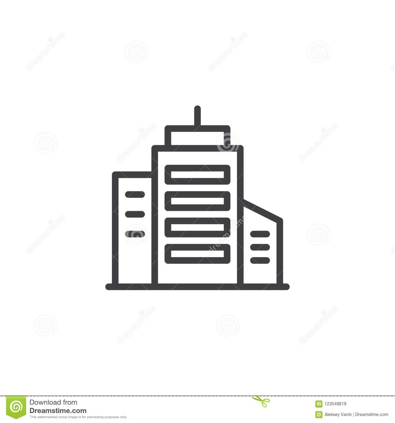 Skyscraper Building Outline Icon Linear Style Sign For Mobile Concept And Web Design Office Simple Line Vector Symbol Logo Illustration
