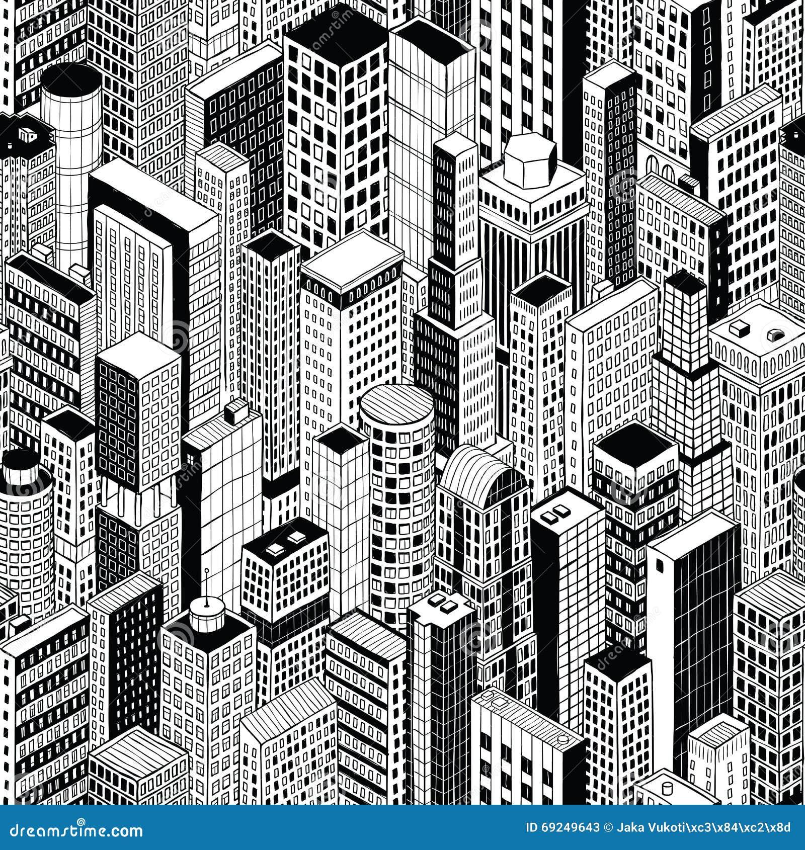 Skyscraper City Seamless Pattern Medium Stock Vector