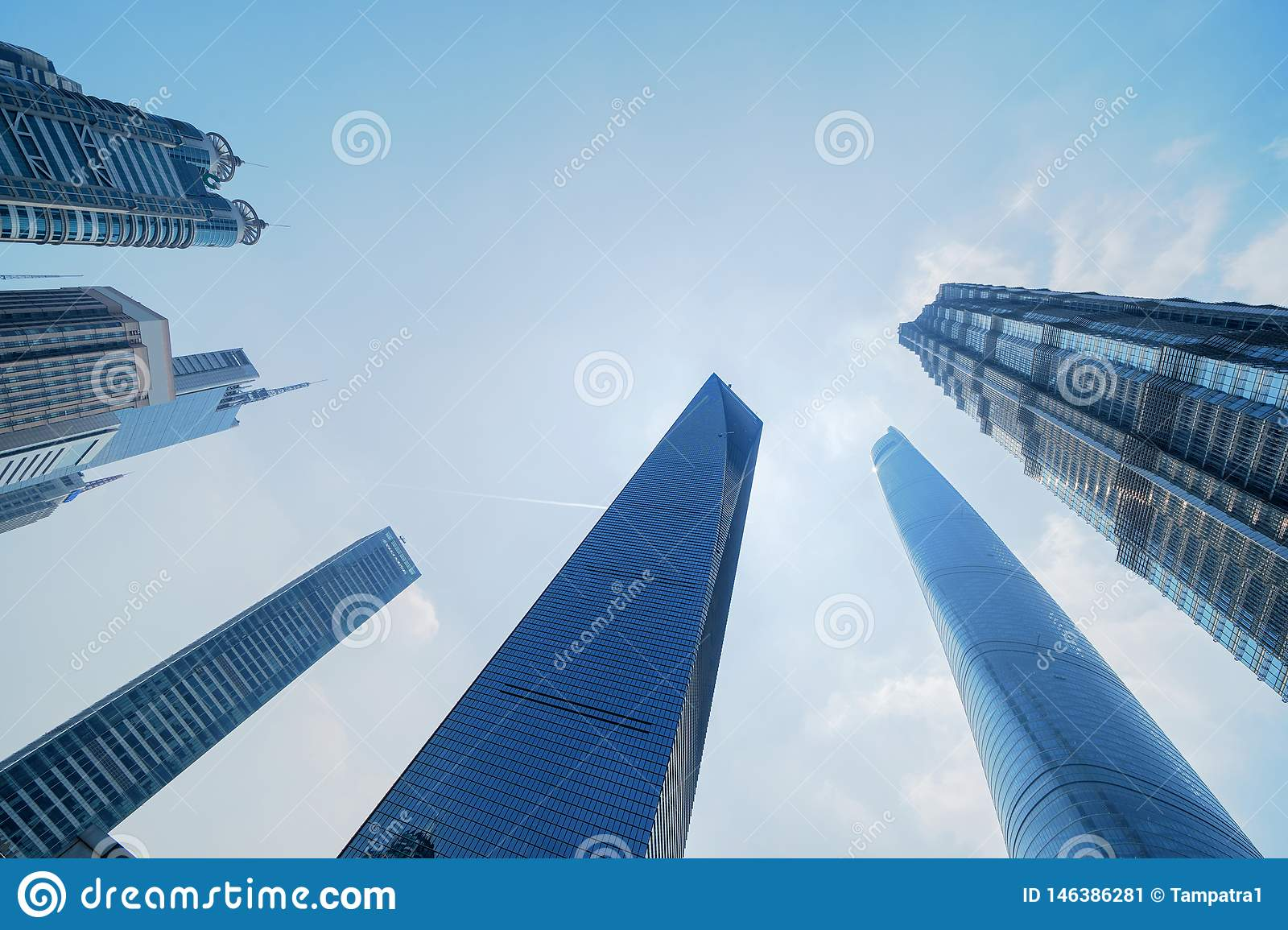 Skyscraper and high-rise office buildings in Shanghai Downtown, China. Financial district and business centers in smart city in