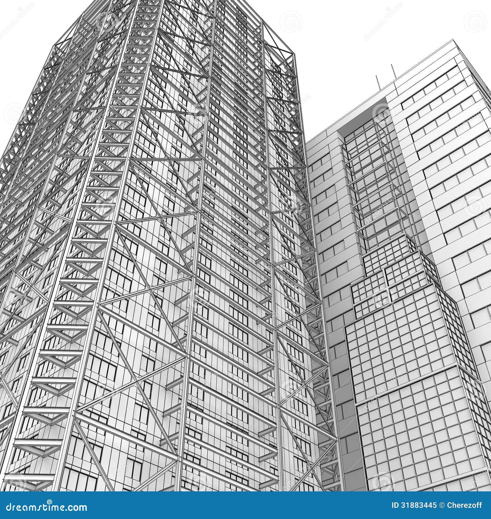 architecture blueprints skyscraper. Royalty-Free Stock Photo Architecture Blueprints Skyscraper