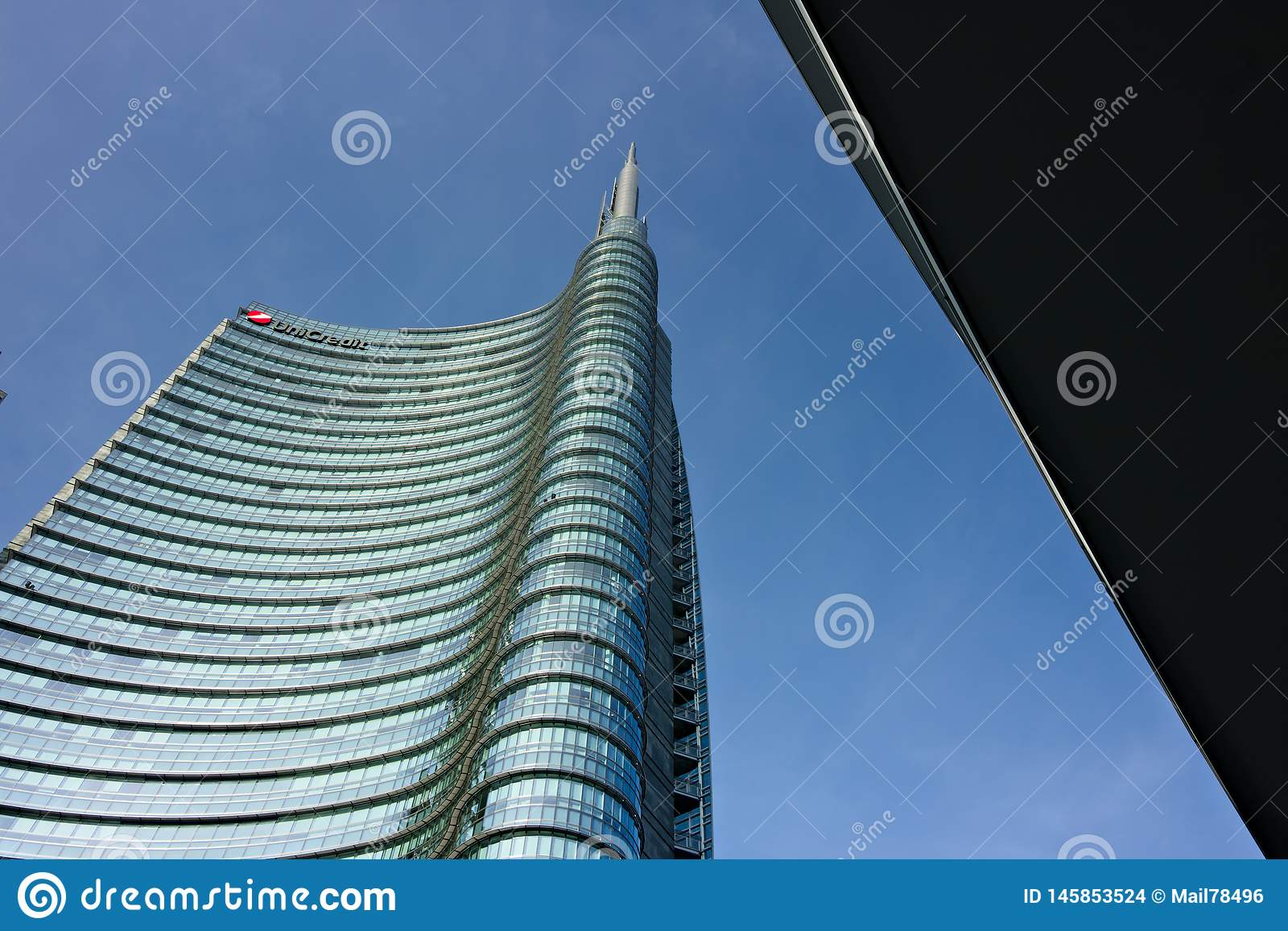 Milan, Italy. March 21 2019. The real estate complex with the Unicredit skyscraper in Piazza Gae Aulenti