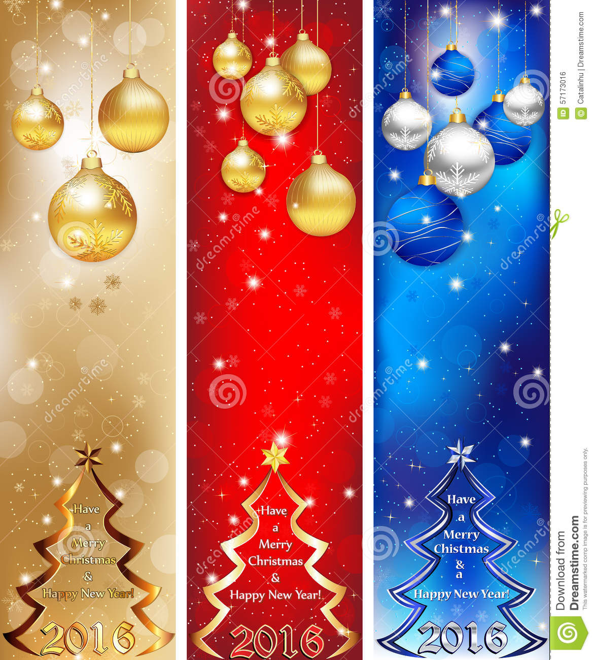Christmas Tree Colour Schemes 2014: Skyscraper Web Banner Set For 2016 Winter Holiday Stock