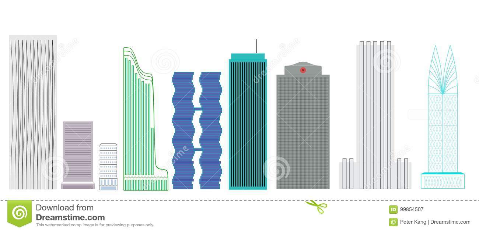 Skyscrapers Designs stock illustration. Illustration of green - 99854507