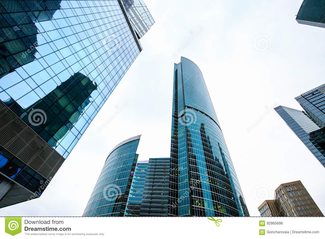 Skyscrapers In Downtown. Modern City Buildings Exterior Design ...
