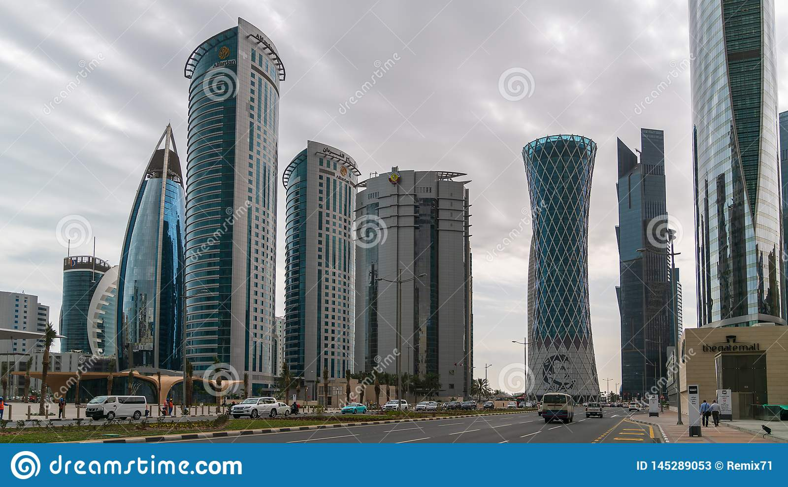 Skyscrapers in Financial District skyline in West Bay, Doha, Qatar