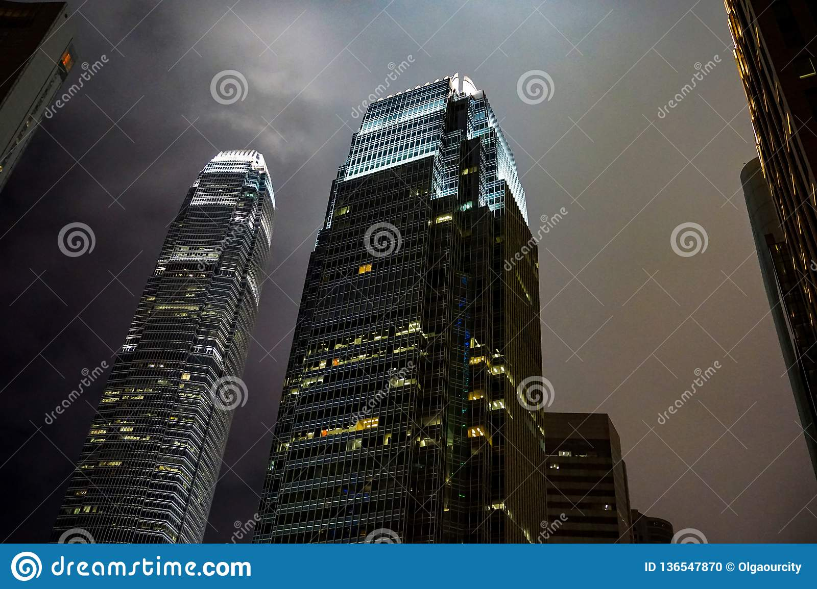 Skyscrapers of hong kong against the night sky