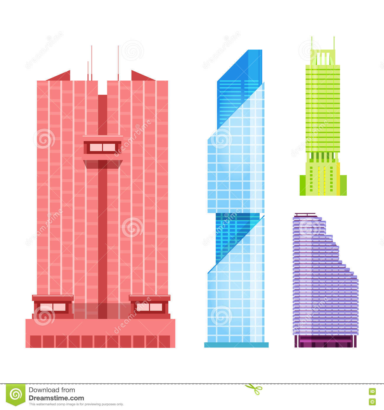 Download Skyscrapers Icons Set In Detailed Flat Style Modern Futuristic Vector Illustration Stock