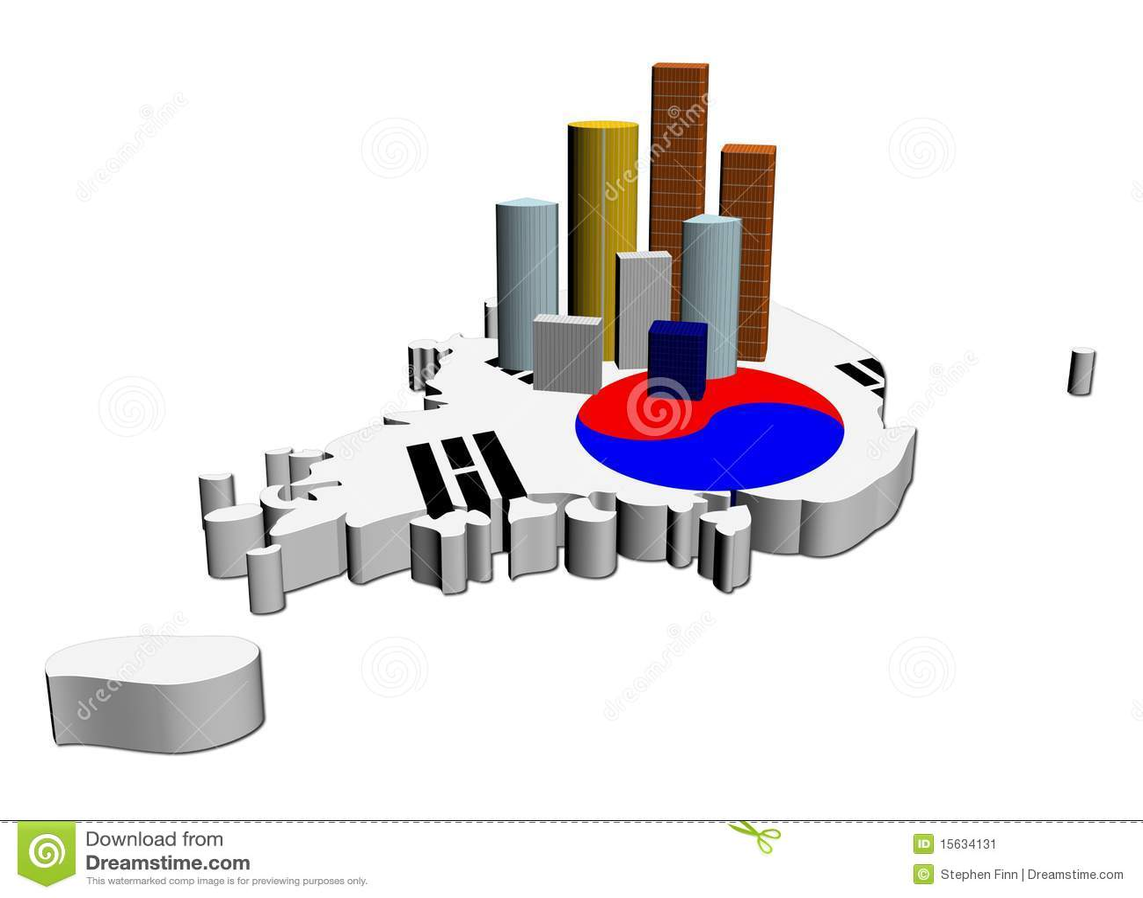 Skyscrapers On South Korea Map Flag Stock Illustration