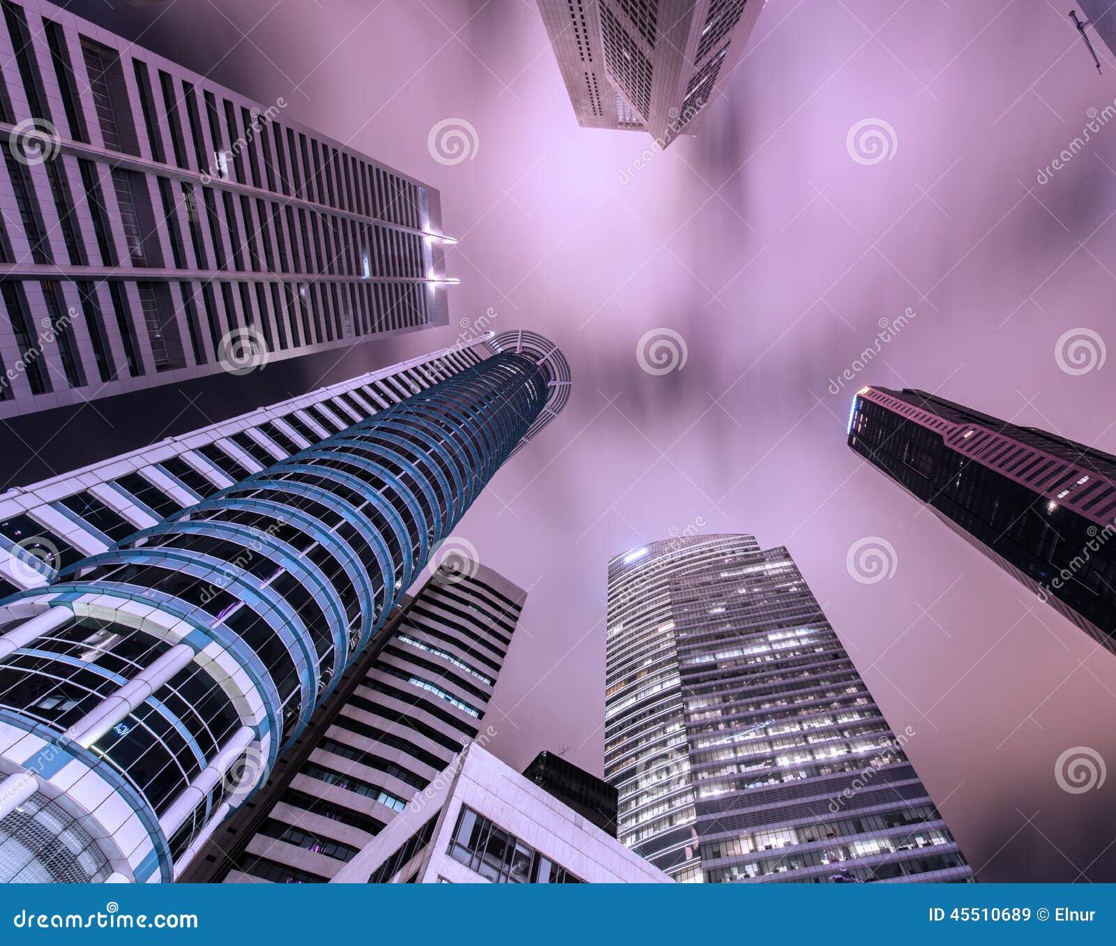 Skysrapers w Singapur podczas