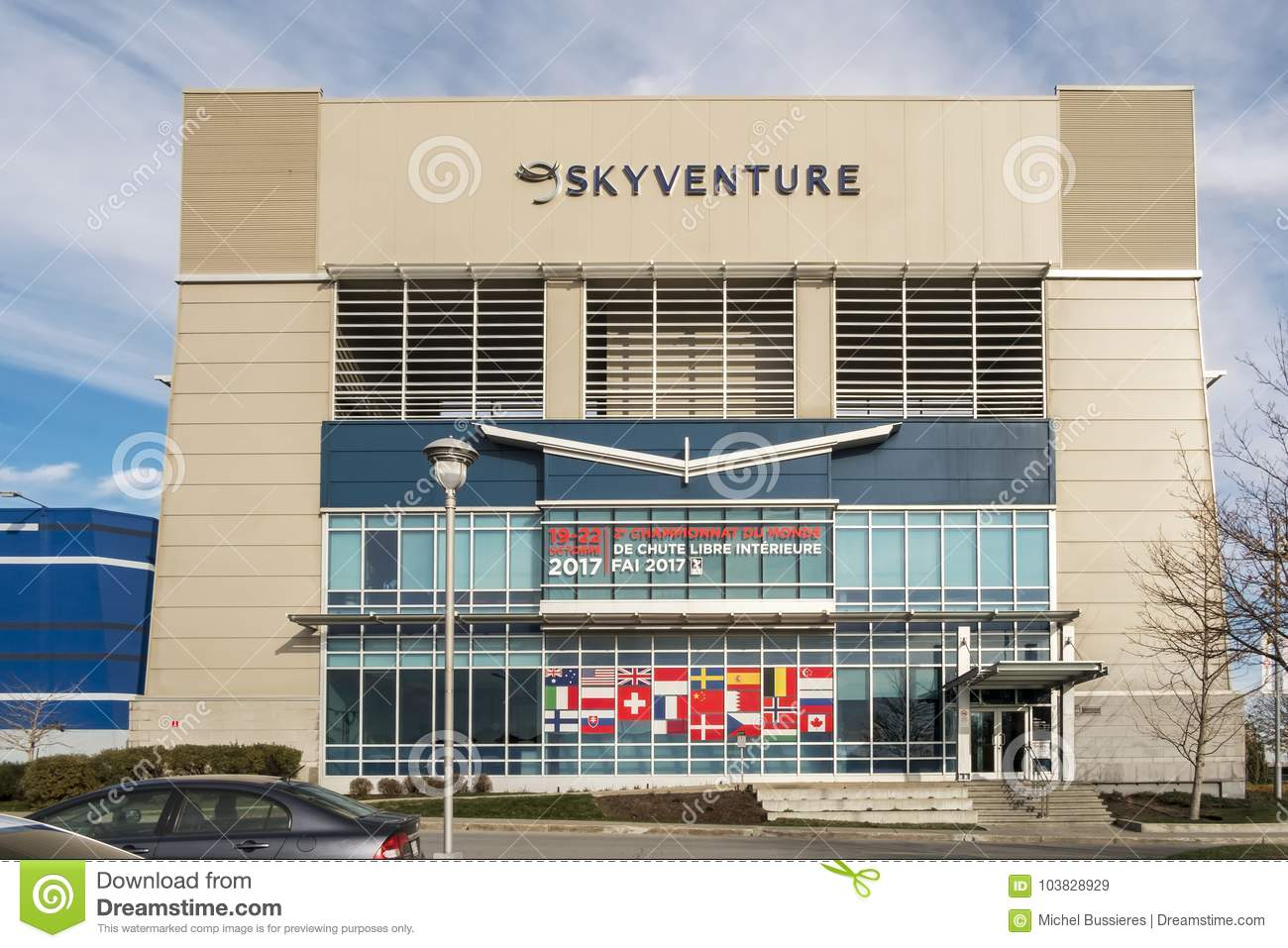 The SkyVenture Laval editorial stock image  Image of further