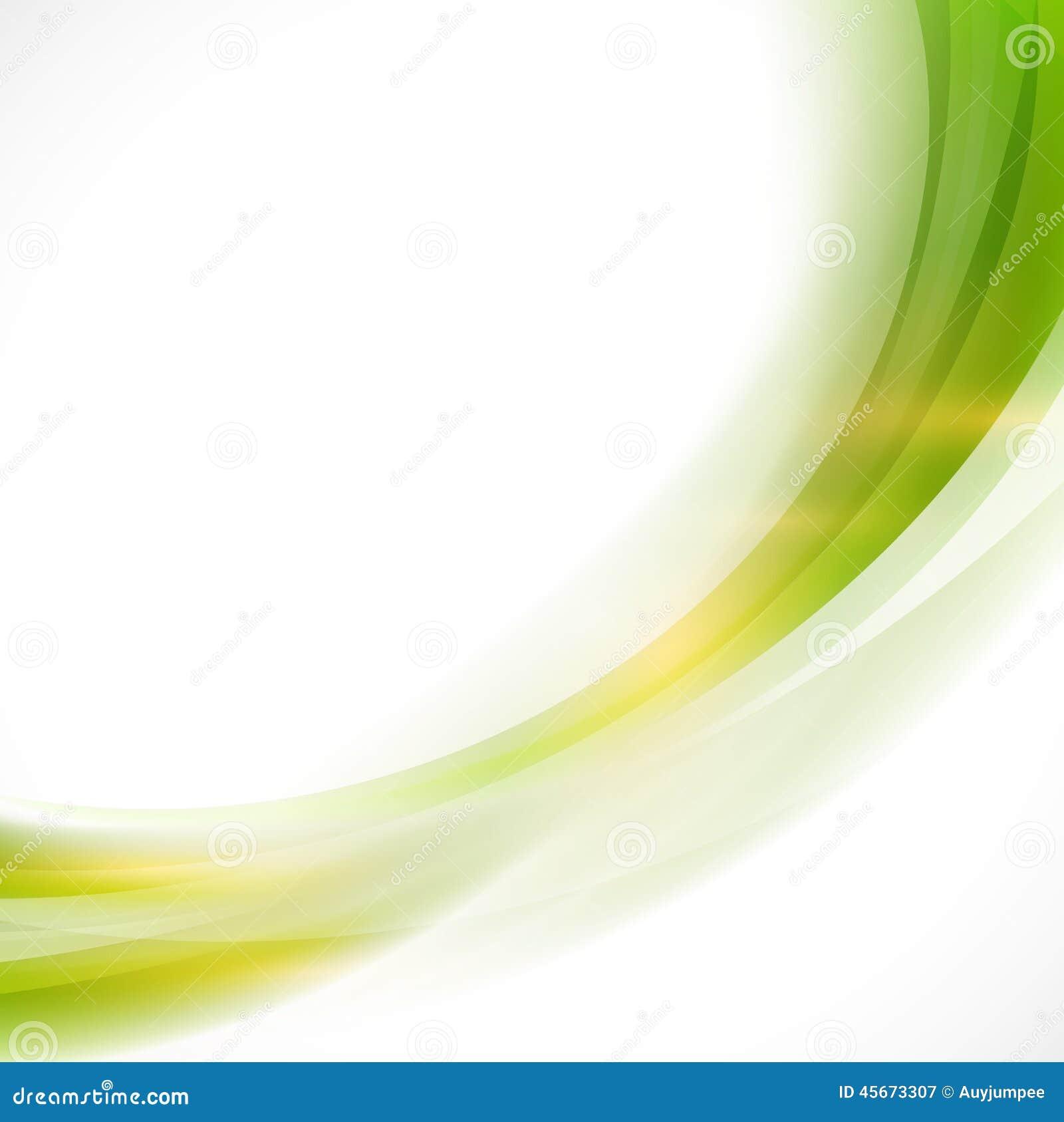 Slät grön flödesbakgrund, vektor & illustration för abstrakt kurva