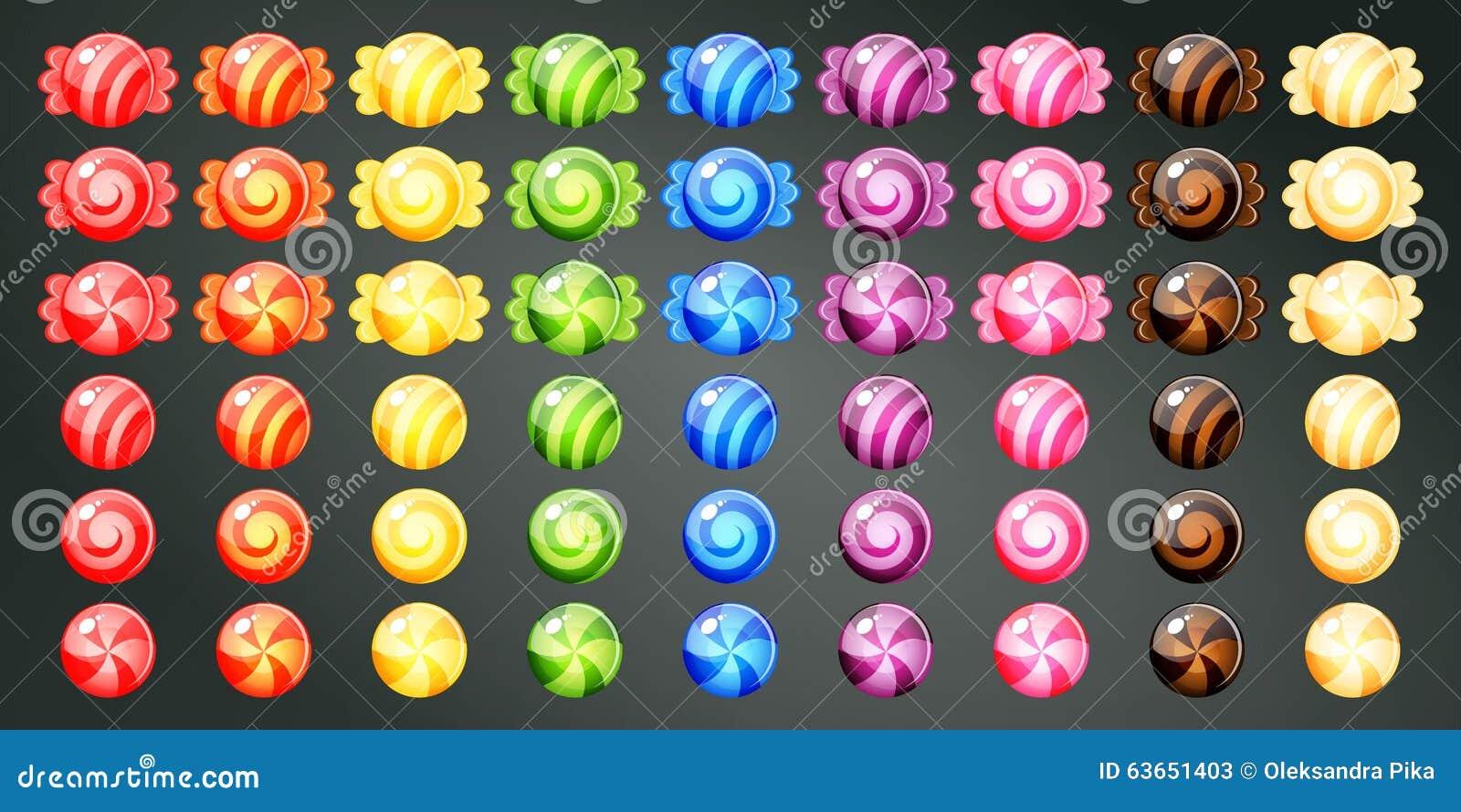 Slågna in färgglade godisar