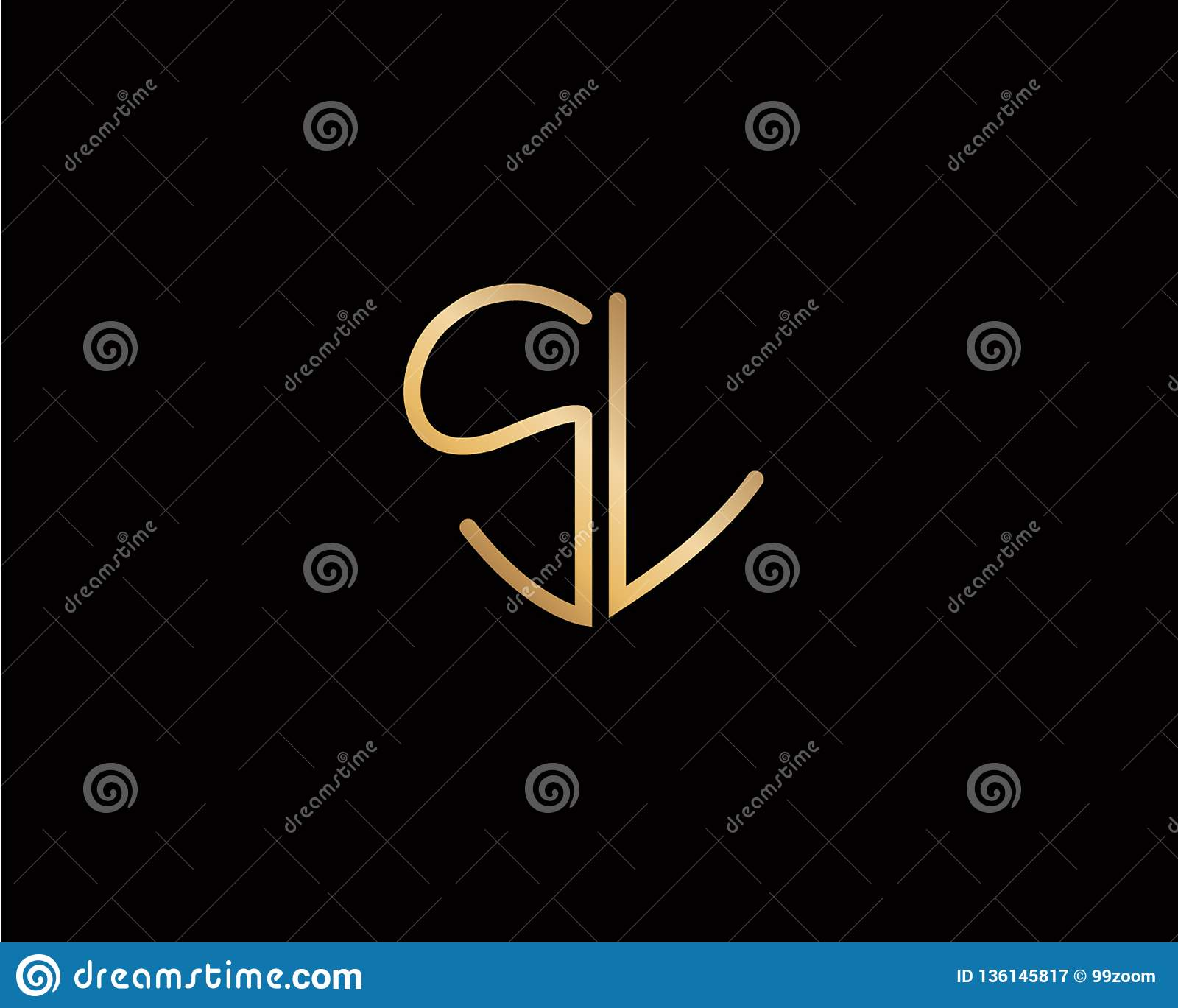 Sl Initial Heart Shape Gold Color Later Logo Design Stock Vector Illustration Of Valentine Marriage 136145817