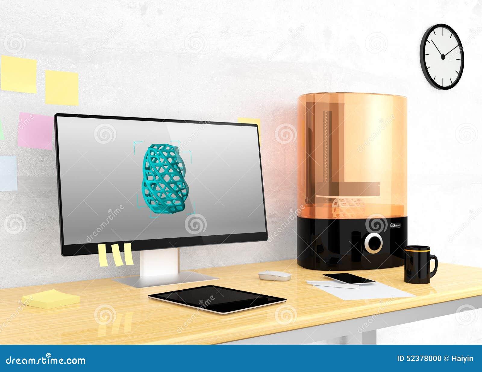 sla 3d打印机和台式计算机在桌上.图片