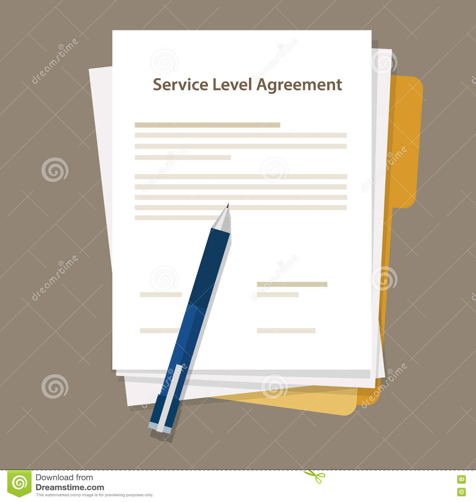 Sla Service Level Agreement Document Pen Paper Stock Vector