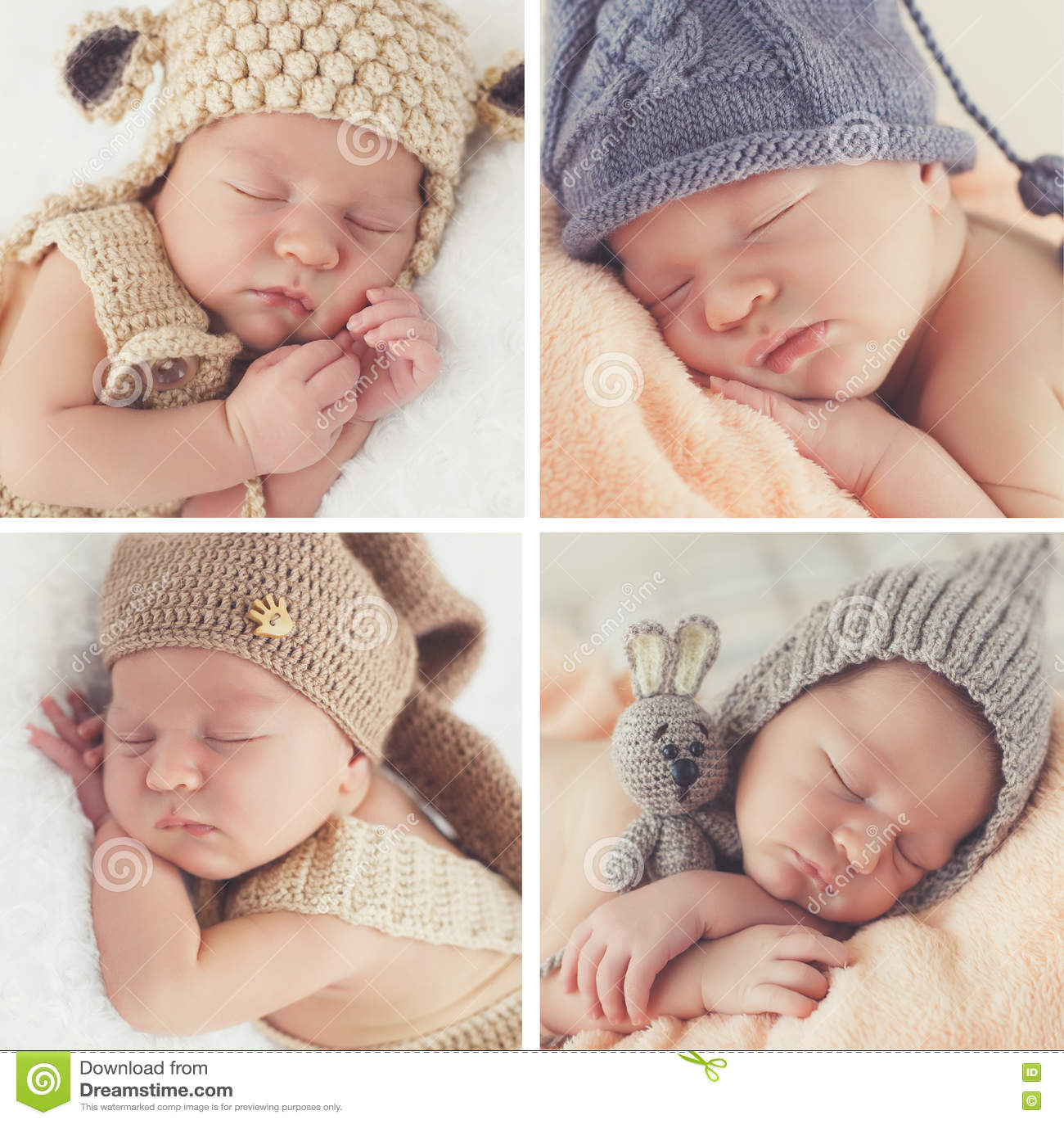 Slaap pasgeboren baby in een gebreide hoed