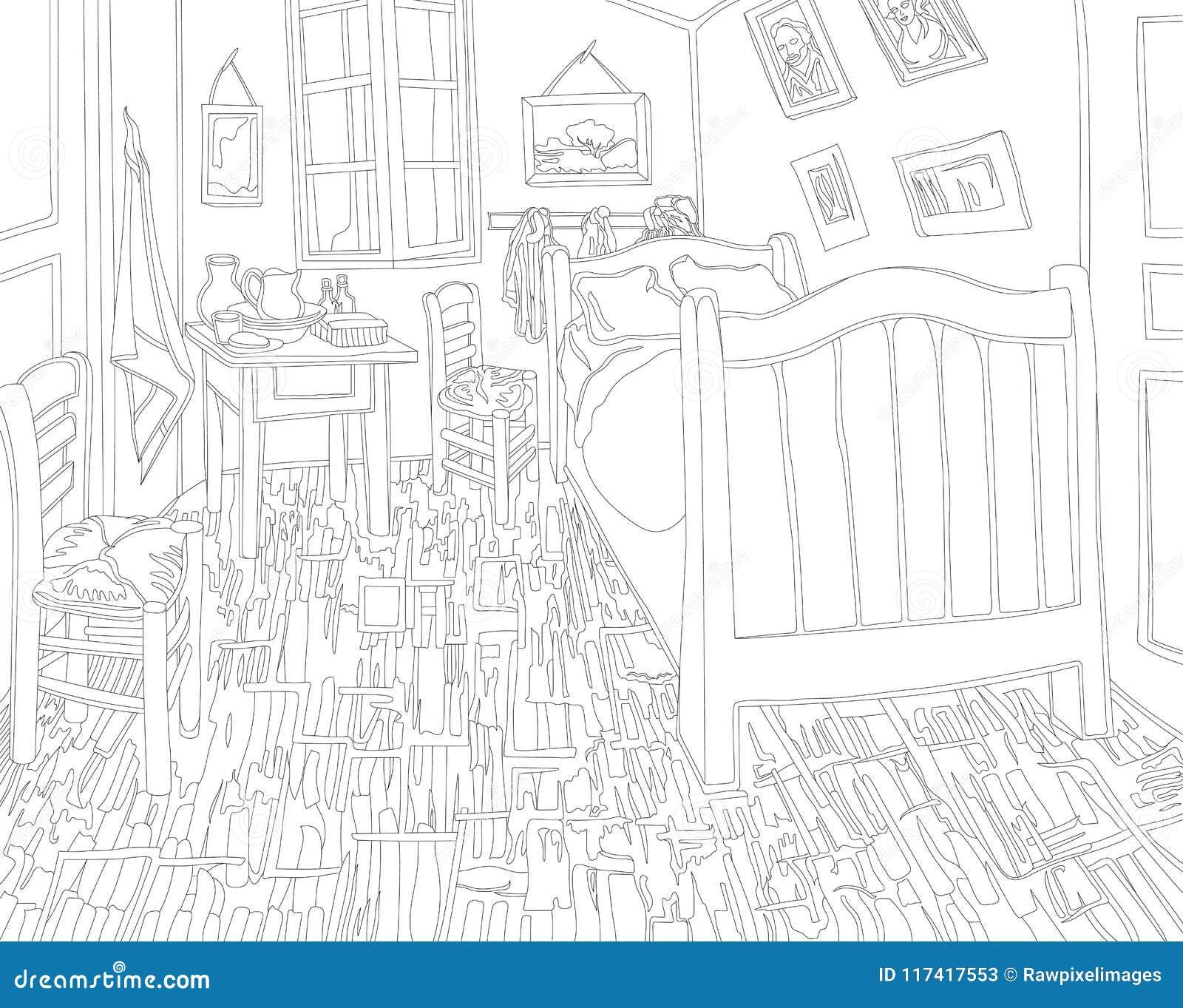 slaapkamer in arles door de volwassen kleurende pagina