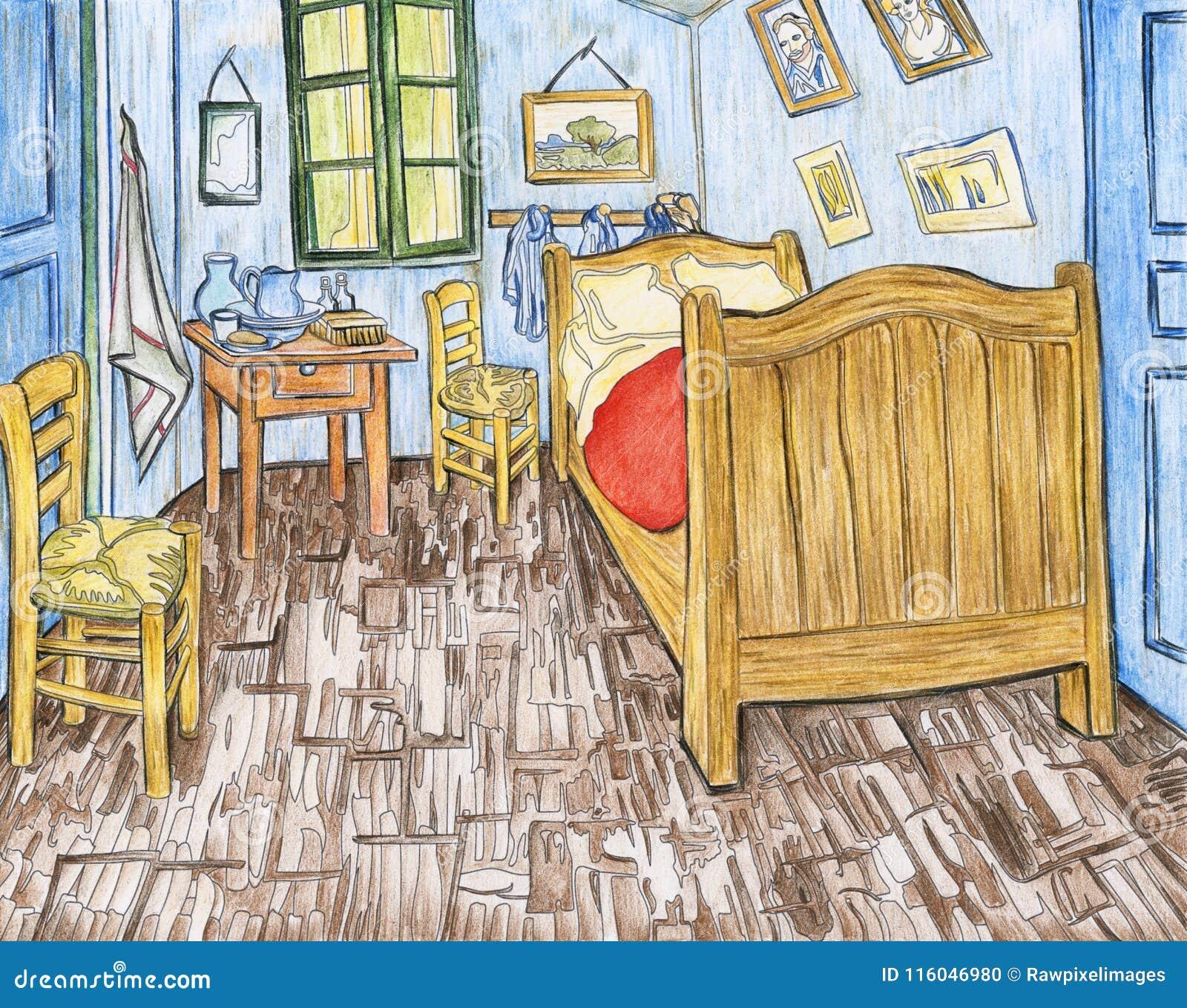 slaapkamer in arles 1888 door vincent gogh stock