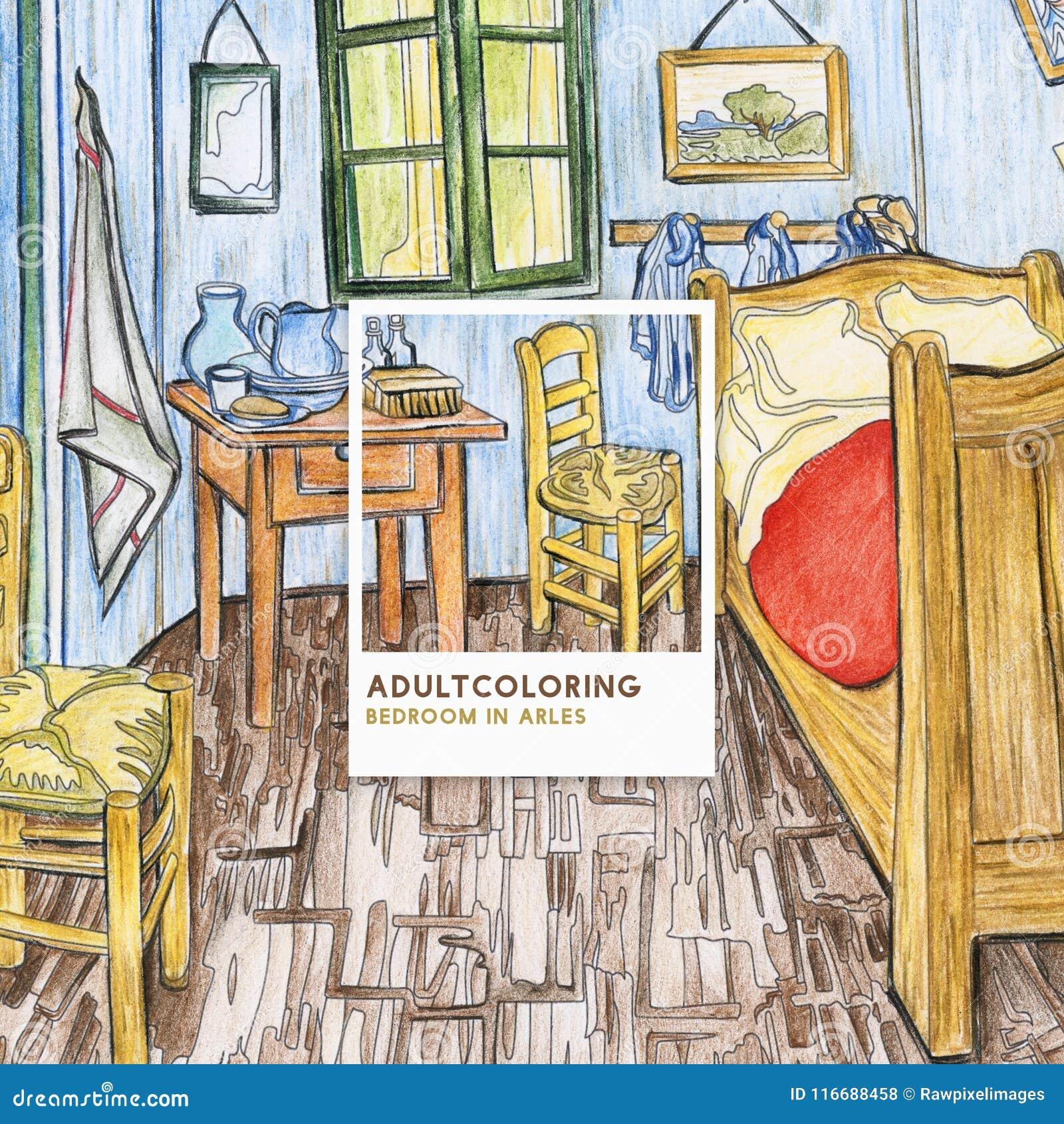 Slaapkamer In Arles 1888 Door Volwassen De Kleuringspagina Van ...