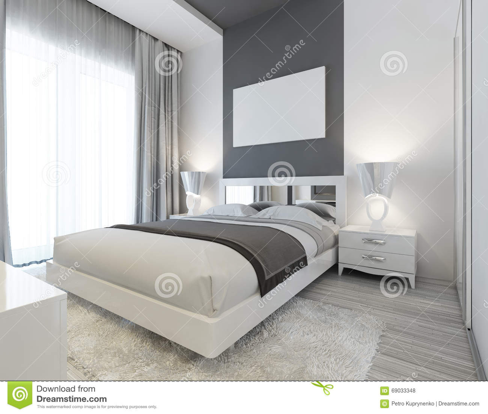 Slaapkamer in art deco stijl in witte en grijze kleuren stock illustratie afbeelding 69033348 - Grijze slaapkamer ...