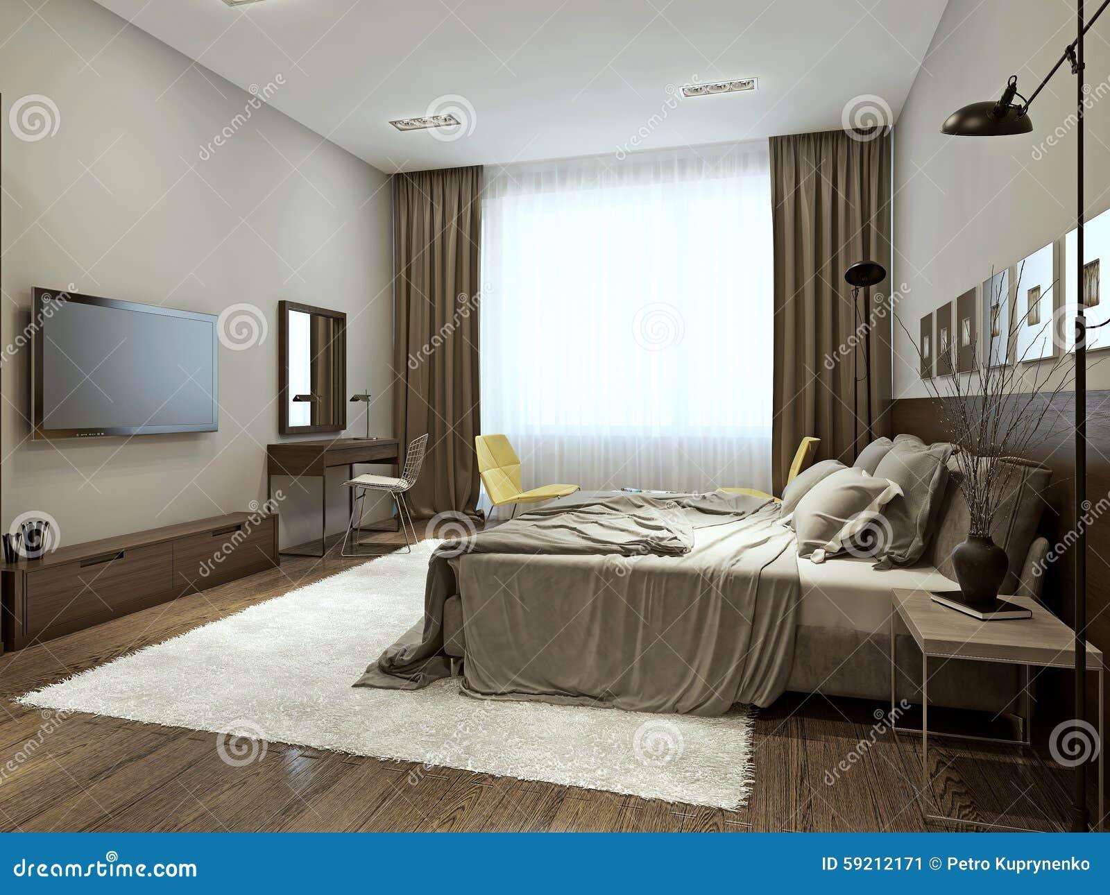 Slaapkamer eigentijdse stijl stock illustratie illustratie