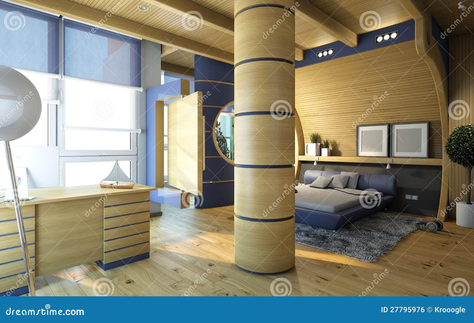 Slaapkamer In Hout Royalty-vrije Stock Afbeelding - Afbeelding ...