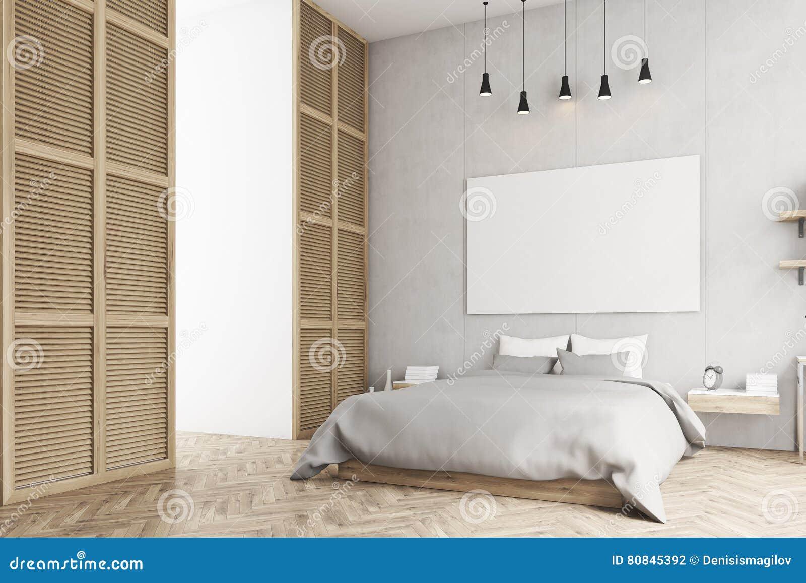 Slaapkamer Met Affiche En Een Venster In Een Beige Muur Stock ...