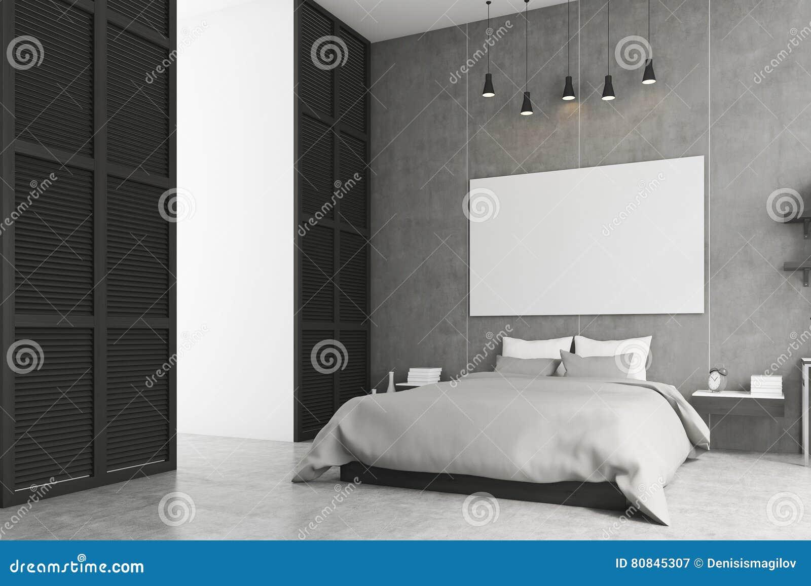 Slaapkamer Zwarte Muren : Slaapkamer met affiche en een venster in een zwarte muur stock