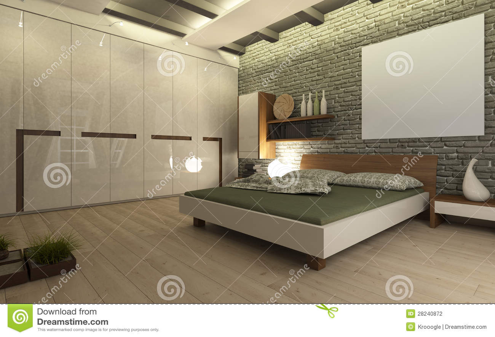 Slaapkamer met grijze bakstenen muur.