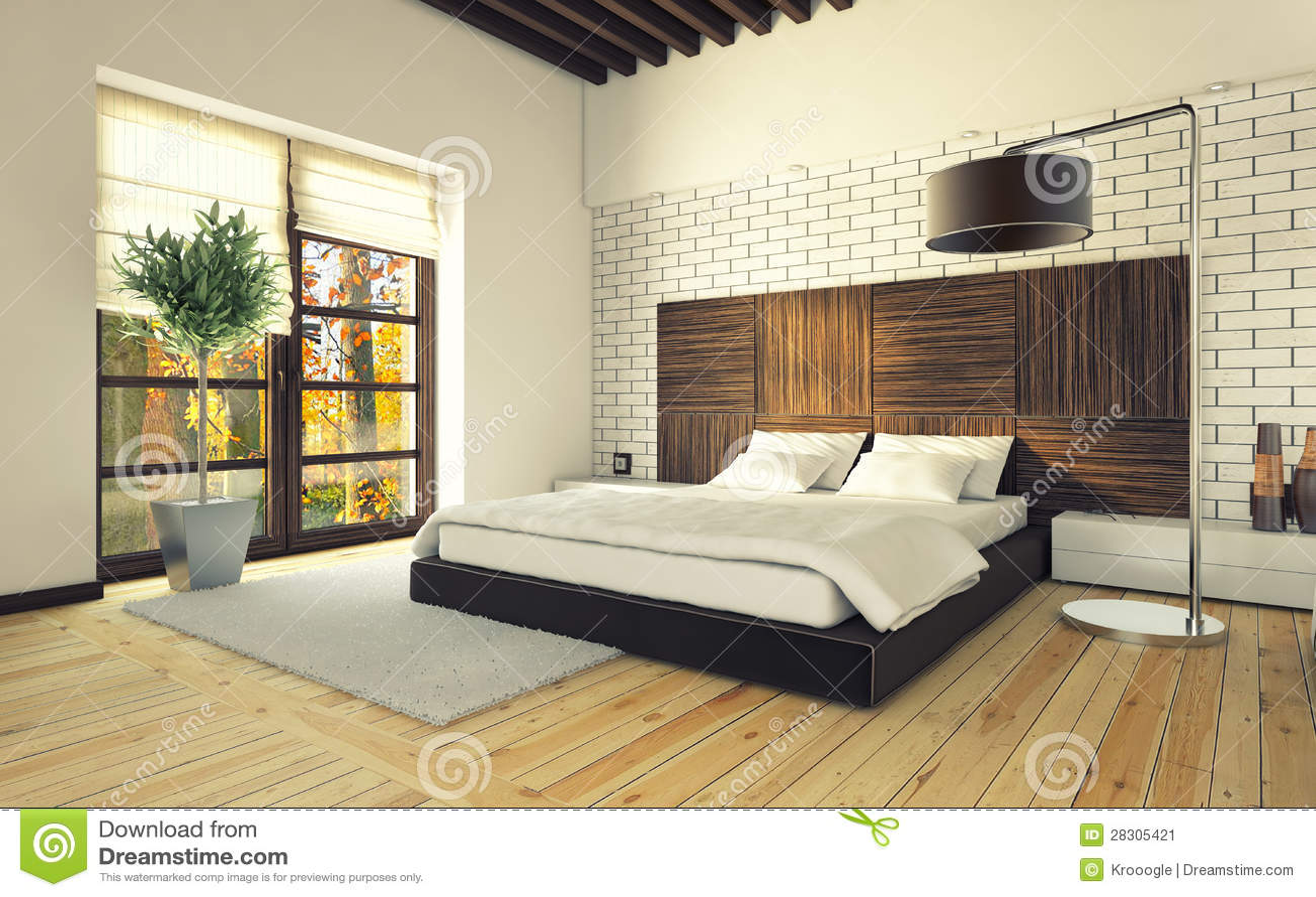 Slaapkamer met bakstenen muur stock afbeelding   afbeelding: 28305421