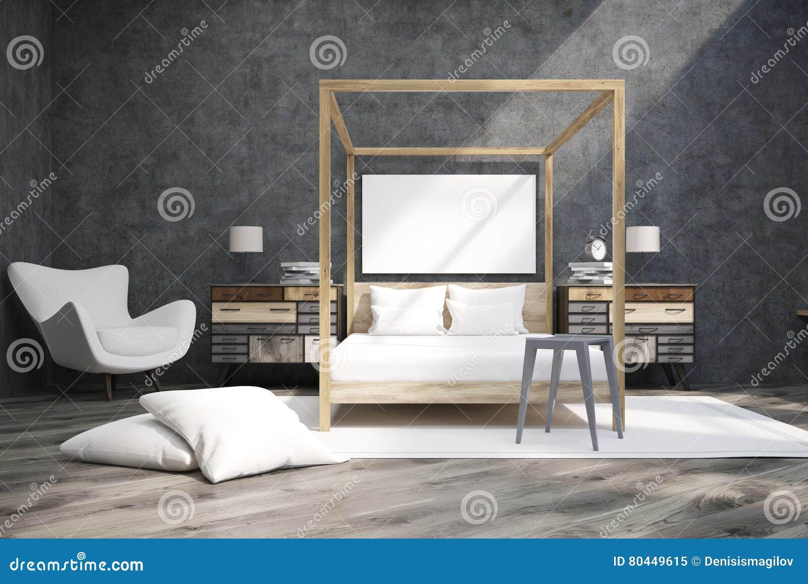 Grote Posters Slaapkamer : Slaapkamer met bed met pilaren en een affiche stock illustratie