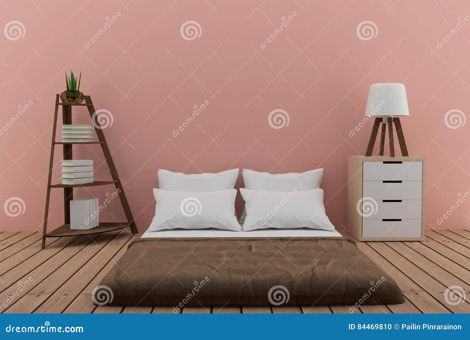 Slaapkamer Lamp Roze : Slaapkamer met boekenrek met kleine lamp en kabinet in roze ruimte