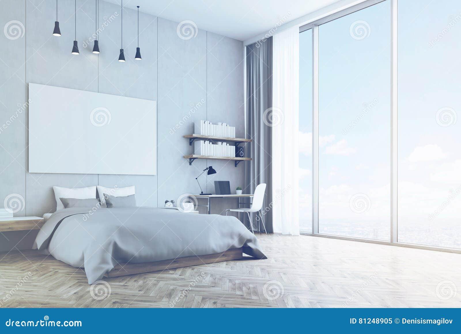 Houten Vloer Slaapkamer : Slaapkamer met concrete gestemde muur en houten vloer stock