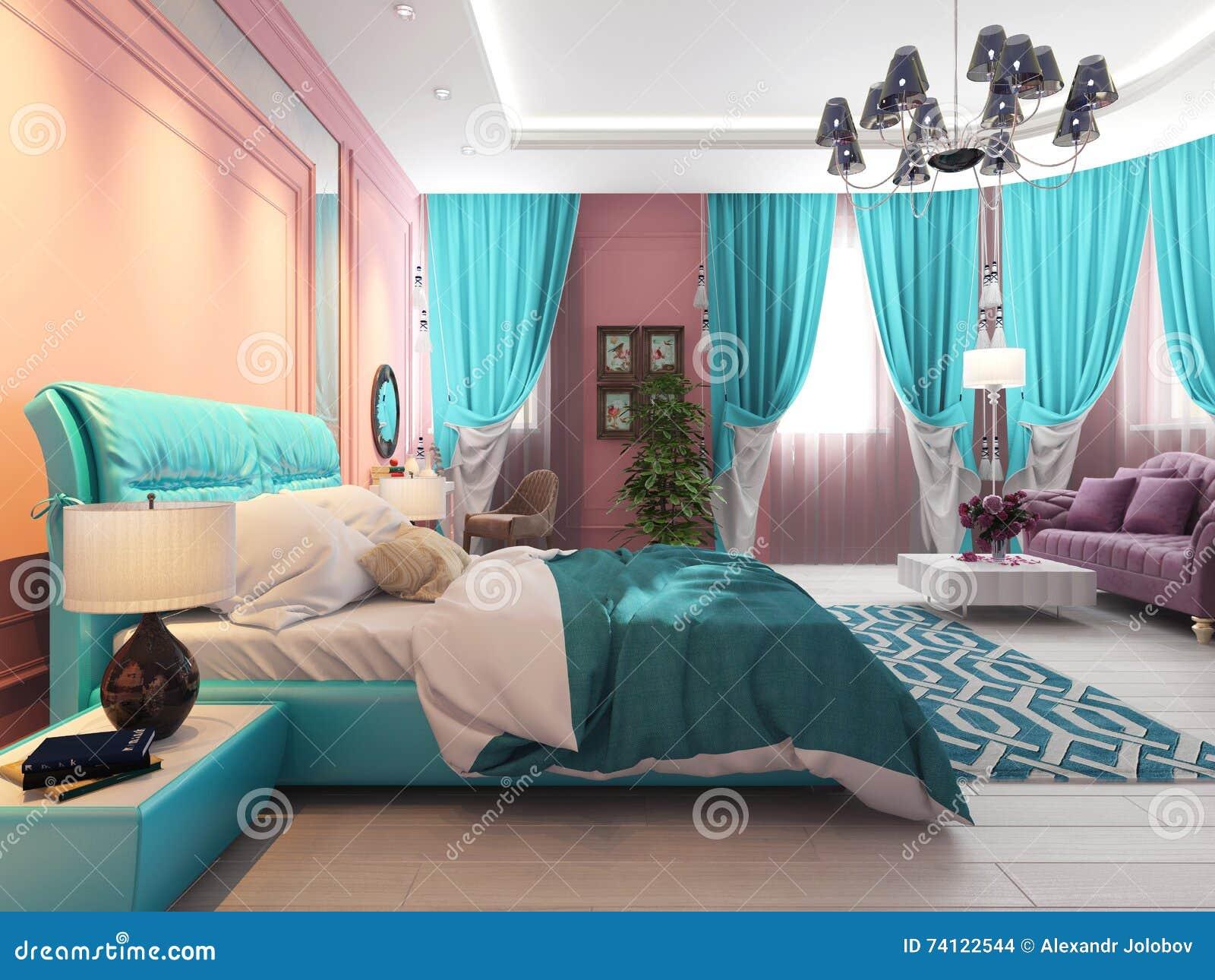 Slaapkamer met een bed en een bank, roze gordijnen stock ...