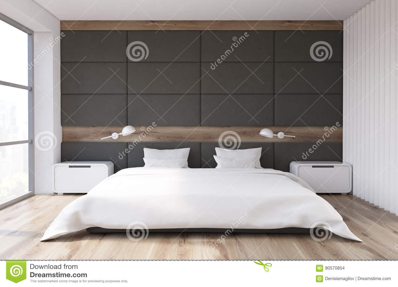 Slaapkamer met grijze muur stock illustratie. Illustratie bestaande ...
