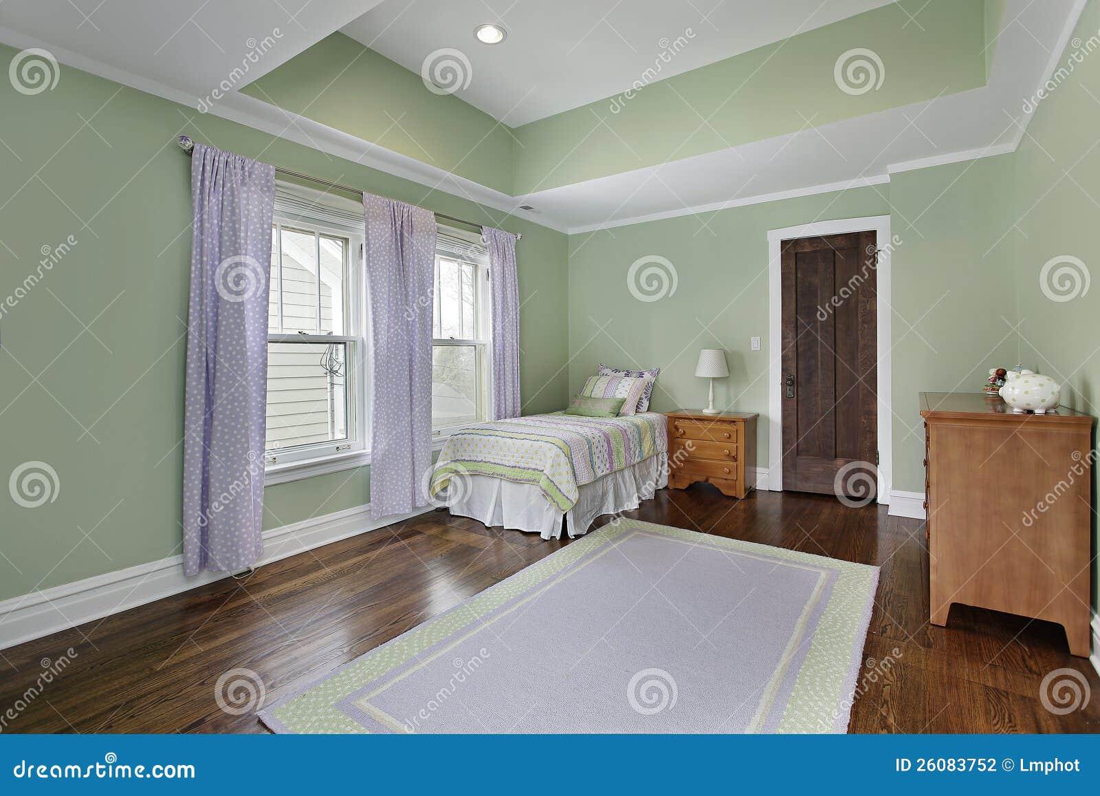 Slaapkamer Met Groene Muren Stock Fotografie - Afbeelding: 26083752
