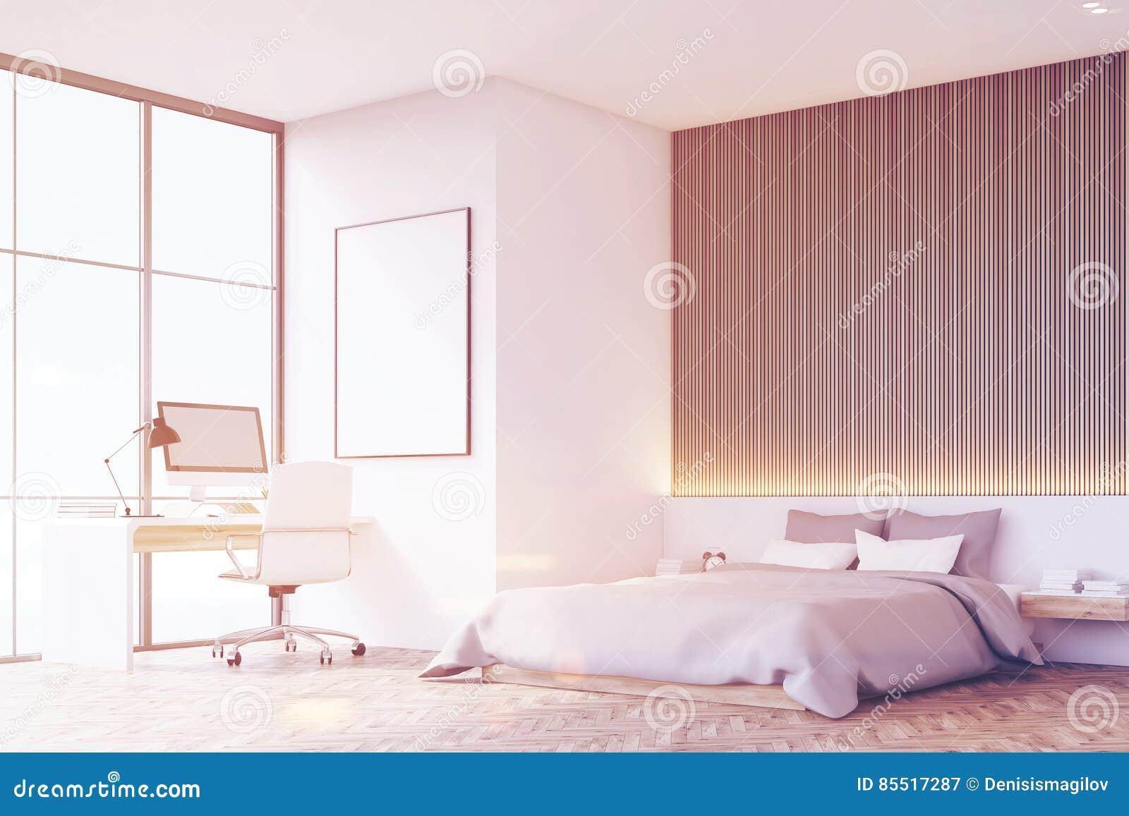 Slaapkamer Houten Vloer : Slaapkamer met houten vloer lijst gestemd zijaanzicht stock