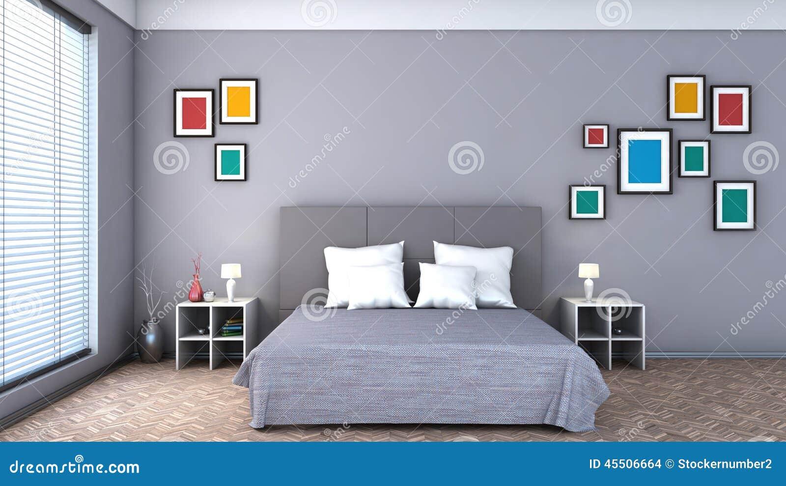 download slaapkamer met kleurrijke schilderijen stock illustratie illustratie bestaande uit decoratie huis 45506664