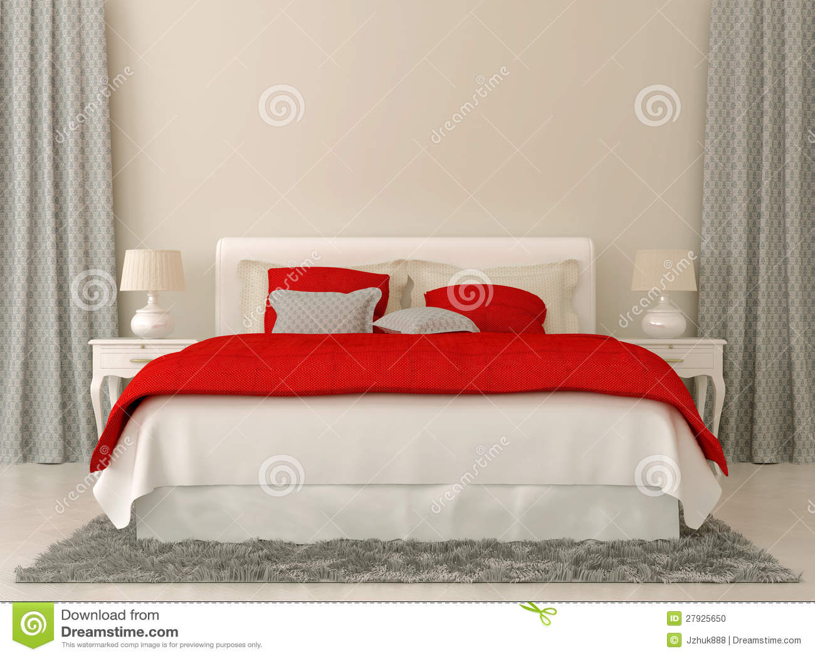 Slaapkamer met rode en grijze decoratie stock foto afbeelding
