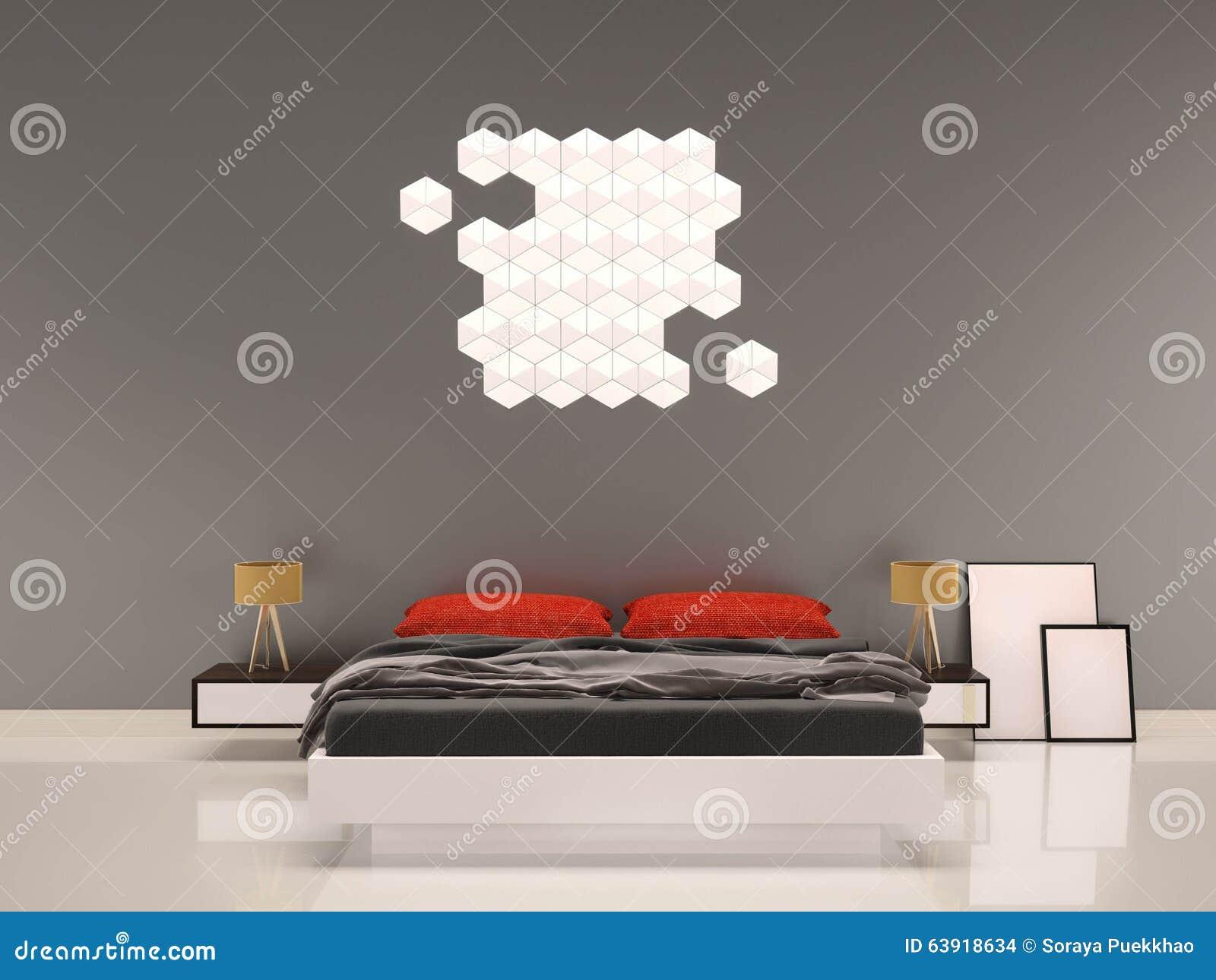 Slaapkamer met rood hoofdkussen grijs muur binnenland stock ...