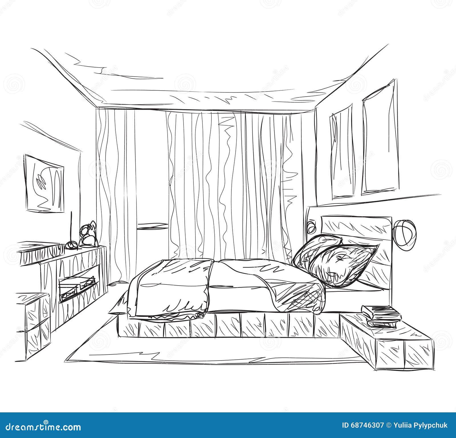 Slaapkamer Moderne Binnenlandse Schets Vector Illustratie